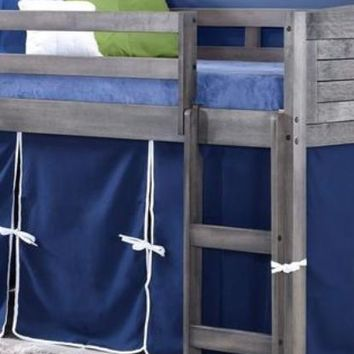 Jordan Gray Twin Loft Bed with Blue Tent
