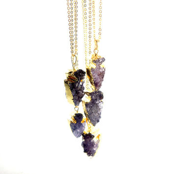 Amethyst Arrow Necklace - Amethyst Druzy Necklace - Bridal Jewelry - Healing Stone - Natural Stone Necklace - Bohemian Gypsy Style