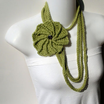 Chain Crochet Necklace Flower Celery Green by krochetlady on Etsy