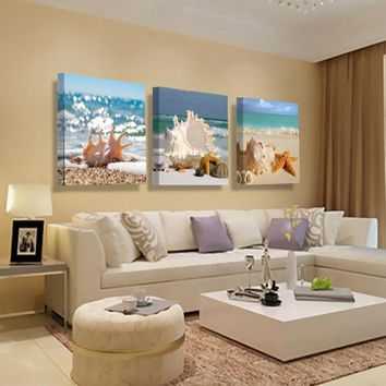 Wall Art Canvas Painting Seascape Shell Home Decor Picture Modern Canvas Pictures for Living Room Wall Art Canvas Prints HY103