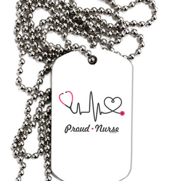 Stethoscope Heartbeat Text Adult Dog Tag Chain Necklace