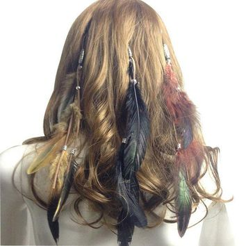 PEAPON 2017 Fashion Women Hair Accessories Peacock Feather Headband Party Christmas Headband Costume Party Head Piece Hair Band