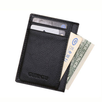 8969d3647c2 Slim Man Genuine Cow Leather Male Credit Card Holders Thin Money