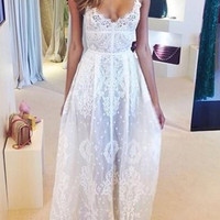 White Spaghetti Strap Floral Lace Maxi Dress