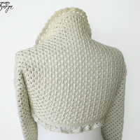 Crochet shrug bolero long sleeved with lace trim ecru cream ivory cotton bridal wrap