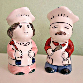 Vintage Ceramic Salt and Pepper Shakers, Mr & Mrs Chef, Hand Painted, Man and Woman Shakers