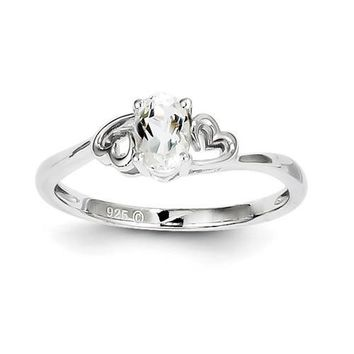 Sterling Silver April Genuine White Topaz Double Heart Ring