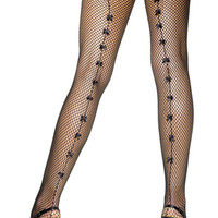 Fever Lingerie Fishnet Tights With Small Bows   Black