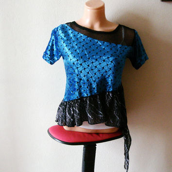 Black and Blue  upcycled top, basket-weave pattern Size Large assymetrical top blouse