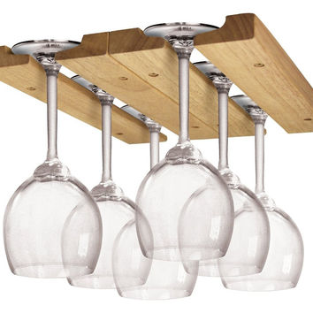 Fox Run Hardwood Wine Glass Under Cabinet Hanger Rack