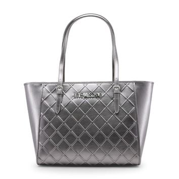 Love Moschino Grey Synthetic Leather Shopping Bag