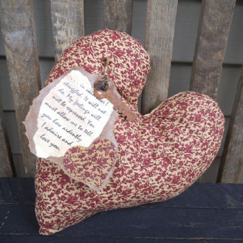 Valentine's Day Pillow -Rustic Pillow - Heart Pillow - Pride & Prejudice - Jane Austin - Mr. Darcy - Valentine's Day Decor - Burgundy
