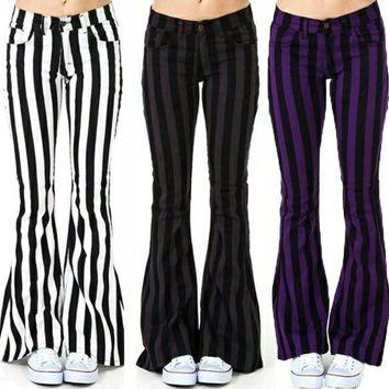 Wide Stripe Flare Casual Pants