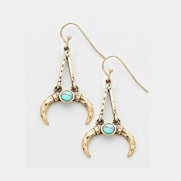 Gold & Turquoise Stone Double Horn Earrings