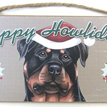 Christmas Gift, Rottweiler, Happy Holidays, Dog Plaques, Wall Decor 10'x5' Black & Brown