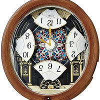 0-006949>Melodies in Motion Wall Clock Swarovski Crystal/Brown Wood