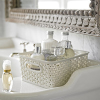 Small Faux Rattan Storage Basket in bathroom storage at Lakeland