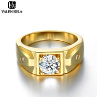 VALEN BELA New Arrival Classic 18K Gold Plated Ring For Men AAA Cubic Zircon Simple hombres Party Jewelry JZ5178