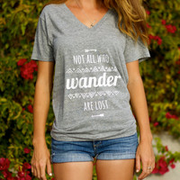 Not All Who Wander Are Lost // Hippie Arrow & Aztec pattern // Inspirational Typographic Screenprint // Ladies / Girls Gray Casual Fit Tee