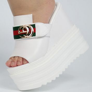 GUCCI super high-heeled summer slope with women's slippers thick-bottomed muffins with increased sexy shoes White