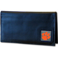 Clemson Tigers Deluxe Leather Checkbook Cover