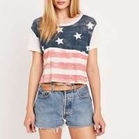 Truly Madly Deeply Grunge Flag Crop Top - Urban Outfitters