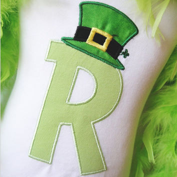 Lucky Alpha St Patrick's day baby girl boy applique t shirt - Add Monogramming - Name or Initial Tee
