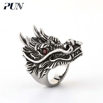 PUN personalized dragon signet finger male gothic antique vintage ring bts jewelry accessories titanium steel ring for men punk