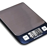 DecoBros Digital Multifunction Kitchen and Food Scale, 11lb Capacity by 0.1oz, Stainless Platform, Elegant Black