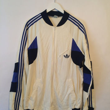 Vintage 80s ADIDAS Jacket White and Blue Size Large