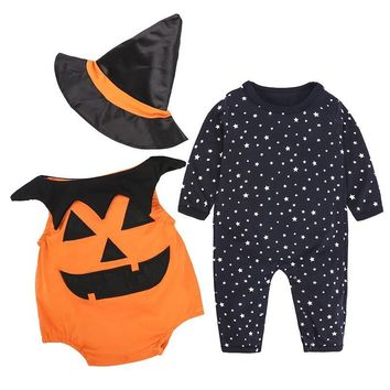 2018 Fashion 3 Piece Baby Girl Fall Clothes Set Halloween Costumes for Boys Infants Toddler Pumpkin Outfit