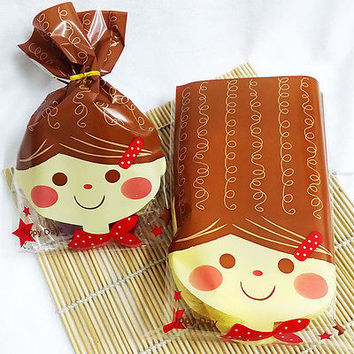 long hair doll bread food gift favor cellophane cello bags+twist tie party USHU