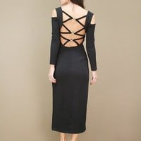 black vintage dress with cutouts at each shoulder and criss-cross back | shopcuffs.com