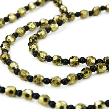 "30"" Elegant Contemporary Style Black and Gold Beaded Christmas Garland Swag"