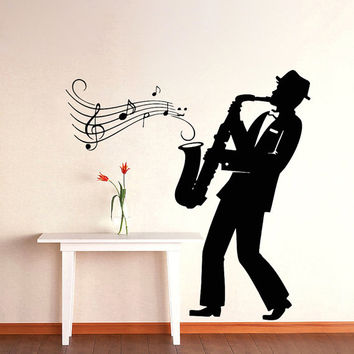 Wall Decals Interior Home Decor Art Saxophone Jazz Music Orchestra Musician Relax Vinyl Decal Sticker Kitchen Cafe Restaurant ML36