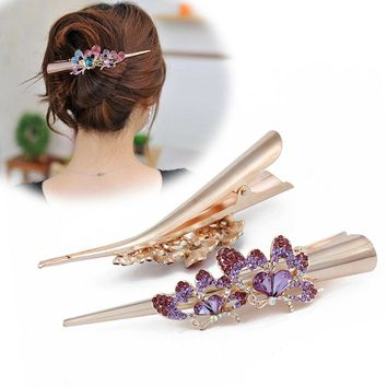 Flying Butterfly Crystals Hair Clips Horn Hairpins Headdress Hair Accessories for Women Girl Barrettes New Arrival