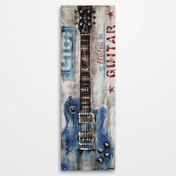 Guitar painting Red and blue Rustic Vintage inspired Music Art Gift for musician Original textured painting on canvas by Magda Magier