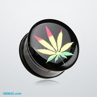 Rasta Cannibis Single Flared Ear Gauge Plug