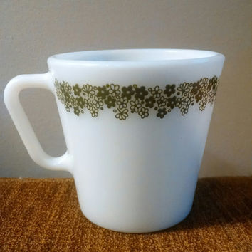 Vintage Pyrex Crazy Daisy Blossom White and Green Flower Print Milk Glass Mug- Coffee or Tea Cup