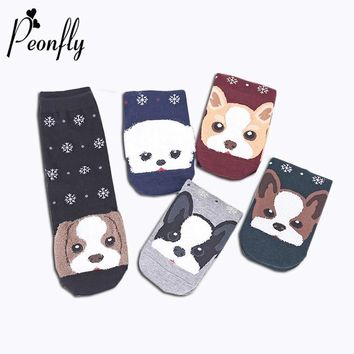 PEONFLY Cartoon Animal Cute Puppy Pattern Printing Snowflakes Happy Socks Woman Autumn Winter Keep Warm Ventilation Cotton Socks