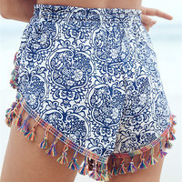 Blue Tassels with Blue and White Porcelain Printed Shorts