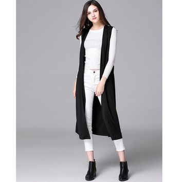 Plus Size Black Pockets Long Vest Cardigan