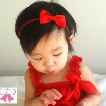 Girl's Valentine's Day Headband/ Baby Red Bow Headband