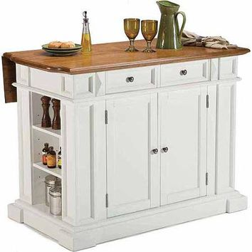 Home Styles Traditions Kitchen Island, White/Distressed Oak - Walmart.com