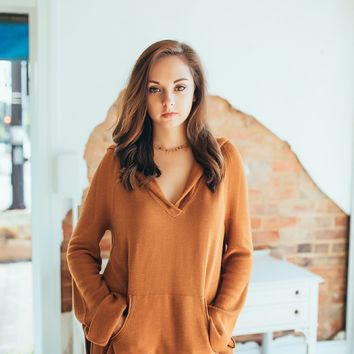 Free People Optimistic Linen Hoodie -Terracotta