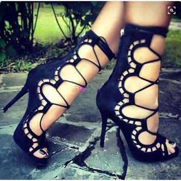 Womens Lace Up Peep Toe Party Summer Sandals Ankle Stiletto High Heel Pump Shoes