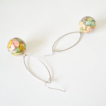 Pastel Hoop Earrings Silver Metal & Muted by RetroRevivalBoutique