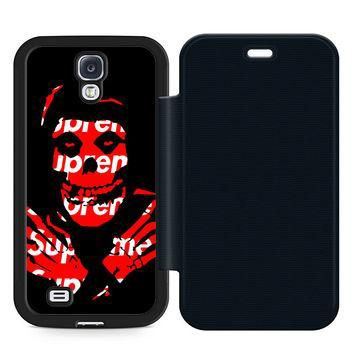 Misfits X Supreme Leather Wallet Flip Case Samsung Galaxy S4