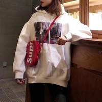 """""""Supreme"""" Women Casual Retro Letter Character Print Loose Long Sleeve Thickened Hooded Sweater Sweatshirt Tops"""