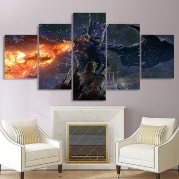 5 piece canvas painting game Dark Soul 3 HD posters and prints Dragon fire canvas painting for living room free shipping